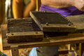 Making cigars in vinales cuba a sequence of hand rolling Royalty Free Stock Photography