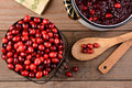 Making cranberry sauce for thanksgiving overhead of a bucket of cranberries and a pot full of whole on a rustic wooden table is a Stock Photography