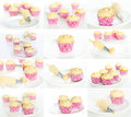 Making cupcakes collage or set pink and tasty colored Royalty Free Stock Image