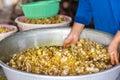 Making dried ring banana chips. Stock Photo