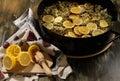 Making the Elderflower cordial - third step Royalty Free Stock Photo
