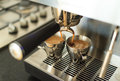 Making espresso brewing two s on a modern home machine Royalty Free Stock Photos