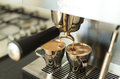 Making espresso brewing two s on a modern home machine Stock Image