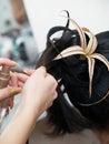 Making evening woman coiffure Stock Photos