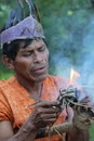 Making fire a in the amazon Stock Photos