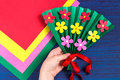 Making gift for Mother`s Day by the child. Step 7 Royalty Free Stock Photo