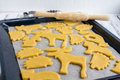 Making homemade cookies in various shapes Royalty Free Stock Photo