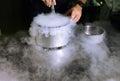 Making ice cream with liquid nitrogen Royalty Free Stock Photo