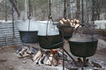 Making maple syrup the traditional way using a kettle or cauldron evaporator Stock Photo