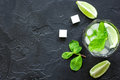 Making mojito on dark background top view