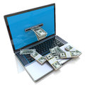 Making money online withdrawing dollars from laptop in the design of information related to internet work Stock Photo