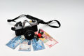 Making money with photography camera and rose flower Stock Image
