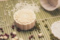 Making mooncakes with plastic mold Royalty Free Stock Photo
