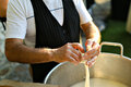 making Mozzarella real italian cheese Royalty Free Stock Photo