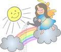 Making a Rainbow Angel/eps Stock Image