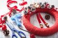 Making red christmas wreath decoration diy handmade Royalty Free Stock Photo