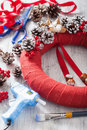 Making red christmas wreath diy handmade Royalty Free Stock Photo
