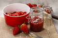 Making strawberry jam Royalty Free Stock Photo