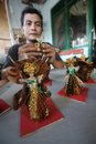 Making traditional action figure worker solo batik carnival in solo central java indonesia Stock Images