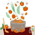 Making vegetarian soup vector concept. Pot with bulbing delicious veg food on a fire and all ingredients around it -