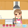 Making whipped cream in kitchen illustration of a sweet little girl with apron for cupcakes home Stock Photography
