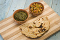 Makki ki roti with channa and saag indian food Stock Images