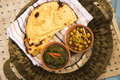 Makki ki roti with channa and saag indian food Stock Photos
