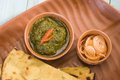 Makki ki roti with saag indian food Stock Image