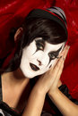 Makup de visage de clown de Pierrot. Images libres de droits