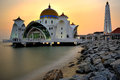 Malacca straits mosque the malay masjid selat melaka is a located on the man made island near town in Royalty Free Stock Photography