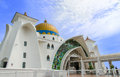 Malacca straits mosque malaysia june is also known as s floating as it is built on stilts above the sea it Royalty Free Stock Photography