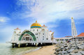 Malacca straits mosque malaysia june is also known as s floating as it is built on stilts above the sea it Royalty Free Stock Images