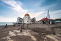 Malacca straits mosque malaysia november is also known as s floating as it is built on stilts above the sea Royalty Free Stock Photos