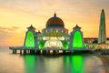 Malacca Straits Mosque, Malaysia at sunset Royalty Free Stock Photo