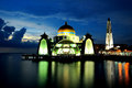 Malacca Straits Mosque (Masjid Selat Mosque) Royalty Free Stock Photo
