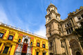 Malaga cathedral and bishops palace the tower the baroque facade of in andalusia spain Royalty Free Stock Images