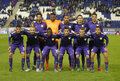 Malaga CF lineup Royalty Free Stock Photo