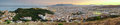 Malaga city skyline spain ultra wide panorma of at dusk andalusia Stock Photography