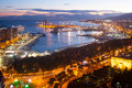 Malaga with Port from castle.  Spain Royalty Free Stock Photo