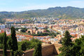 Malaga spain fort walls with a city view of Royalty Free Stock Photography