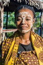 Malagasy woman of ethnicity sakalava with traditional paint mask on apr in nosy be island north of madagascar Stock Images