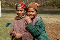 Malagasy young girls of ethnicity merina in a village on may near antananarivo in the highlands of madagascar Royalty Free Stock Image