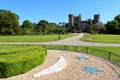 Malahide castle gardens and facade on a cloudless day ireland Stock Photography