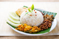 Malay food nasi lemak traditional rice meal Royalty Free Stock Image