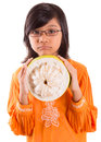 Malay girl and pomelo fruit v asian young in a traditional dress the baju kurung with a half sliced Stock Photography