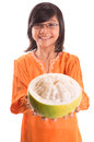 Malay girl and pomelo fruit xi asian young in a traditional dress the baju kurung with a half sliced Royalty Free Stock Photos