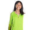 Malay girl in traditional dress iii teenage asian over white background Stock Photo