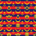 Malaysia flag icon islam building seamless pattern