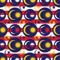 Malaysia flag icon symmetry seamless pattern Royalty Free Stock Photo