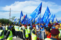 Malaysia general election bukit katil malacca apr crowed of people show big support to barisan nasional political party candidate Stock Image